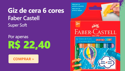 Giz de cera 06 cores super macio 181401BB Faber Castell