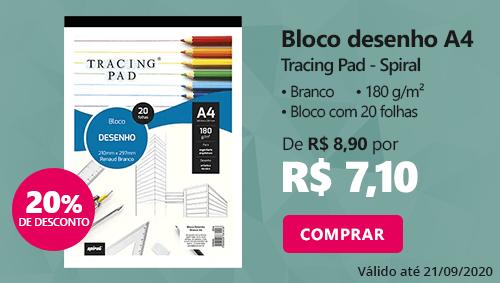 Bloco desenho A4 branco 180g Tracing Pad 81418 Spiral 20 folhas com 20% de desconto