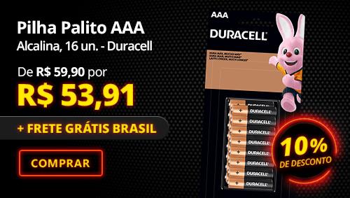Pilha Alcalina Palito AAA Duracell 16 un. com 10% de desconto