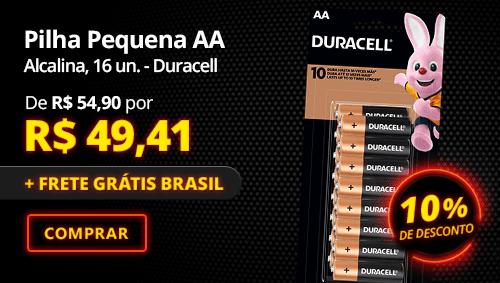 Pilha Alcalina Pequena AA Duracell 16 un. com 10% de desconto