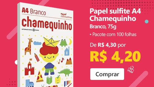 Papel sulfite Chamequinho Branco A4 75g 210mmx297mm Ipaper 100 folhas com desconto