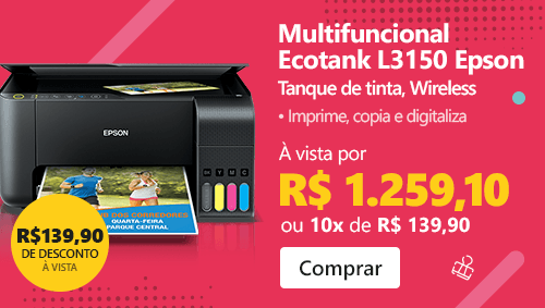 Impressora Multifuncional tanque de tinta Ecotank L3150 Epson com 10% de desconto à vista