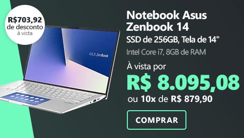 "Notebook Asus Zenbook 14, Processador Core i7, Memória 8GB, 256GB SSD de Armazenamento, Tela de 14"", Prata Metálico, UX434FAC-A6339T"