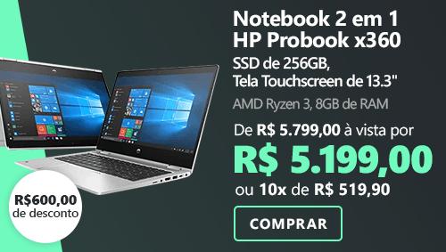 """Notebook 2 em 1 HP Probook x360 435 G7, AMD Ryzen 3 2.7ghz, 8GB de Memória, 256GB de Armazenamento SSD, Tela Touchscreen de 13.3"""""""