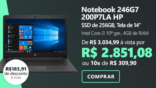 """Notebook HP 246-G7 Processador Intel Core i3 10a. Geração, 4GB de Memória, 256GB SSD de Armazenamento, Tela de 14"""" - 200P7LA com 8% de desconto à vista"""