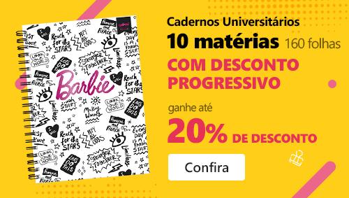 Cadernos Universitários 10 matérias (160 folhas) com até 20% de desconto progressivo