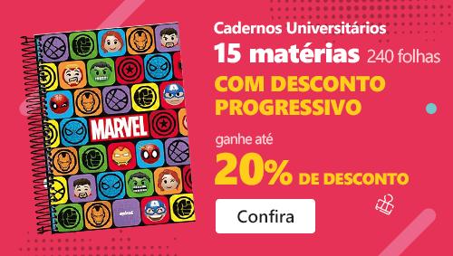 Cadernos Universitários 15 matérias (240 folhas) com até 20% de desconto progressivo