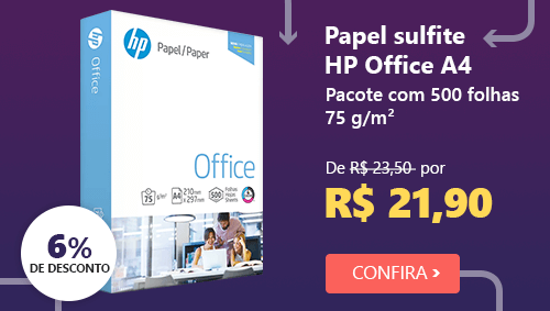 Papel sulfite HP Office A4 75g 210mmx297mm Ipaper