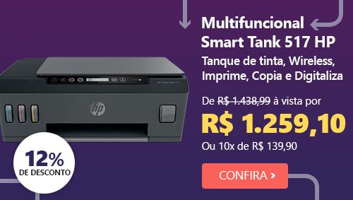 Impressora Multifuncional tanque de tinta Smart Tank 517 1TJ10A HP com 12% de desconto
