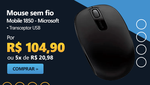 Mouse sem fio Wireless Mobile 1850 preto U7Z-00008 MFT Microsoft