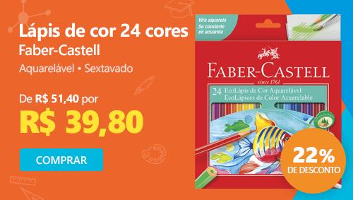Lápis de cor 24 cores Faber-Castell, aquarelável, sextavado com 22% de desconto