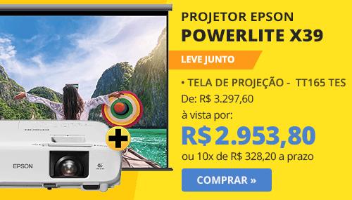Projetor multimídia Powerlite X39 + Tela TT165 TES