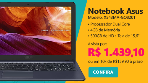 Notebook X543MA-GO820T D.Core 1.1ghz 4gb 500gb 15,6 CZ Asus CX 1 UN