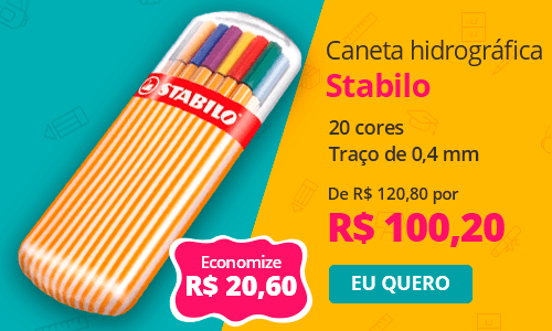 Caneta hidrográfica 20 cores 0,4mm Point 8820/2 Stabilo BT 20 UN
