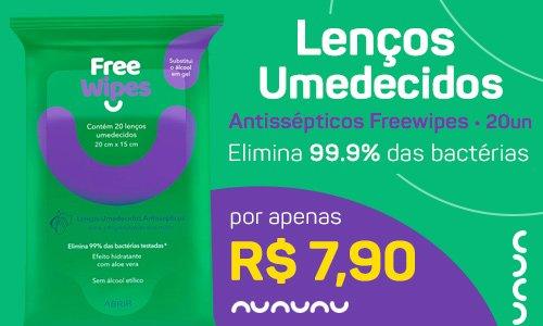 Lenços Umedecidos Antissépticos Freewipes para Higienização das Mãos e Superfícies - FreeCô - PT 20 UN