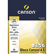 Bloco desenho A3 branco 200g 20 fls 66667044 Canson (038909)