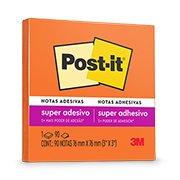 Bloco Adesivo Post-it® Laranja Neon - 76 mm x 76 mm - 90 folhas (041144)