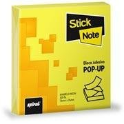 Bloco autoadesivo 76x76 pop-up neon amarelo c/100fls Stick Note PT 1 UN