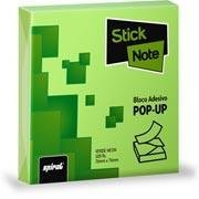 Bloco autoadesivo 76x76 pop-up neon verde c/100fls Stick Note PT 1 UN