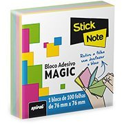 Bloco autoadesivo 76x76 Magic cores c/100fls Stick Note PT 1 UN