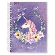 Caderno Universitário Capa Dura 1x1 Dream Like a Unicorn Unicórnio 96 fls Fantasy Spiral
