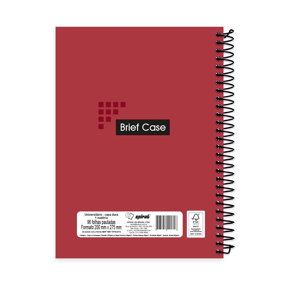 d12197133e Caderno universitário capa dura 1x1 96 fls vermelho Brief Case 91826 Spiral  - Escolar - Kalunga.com