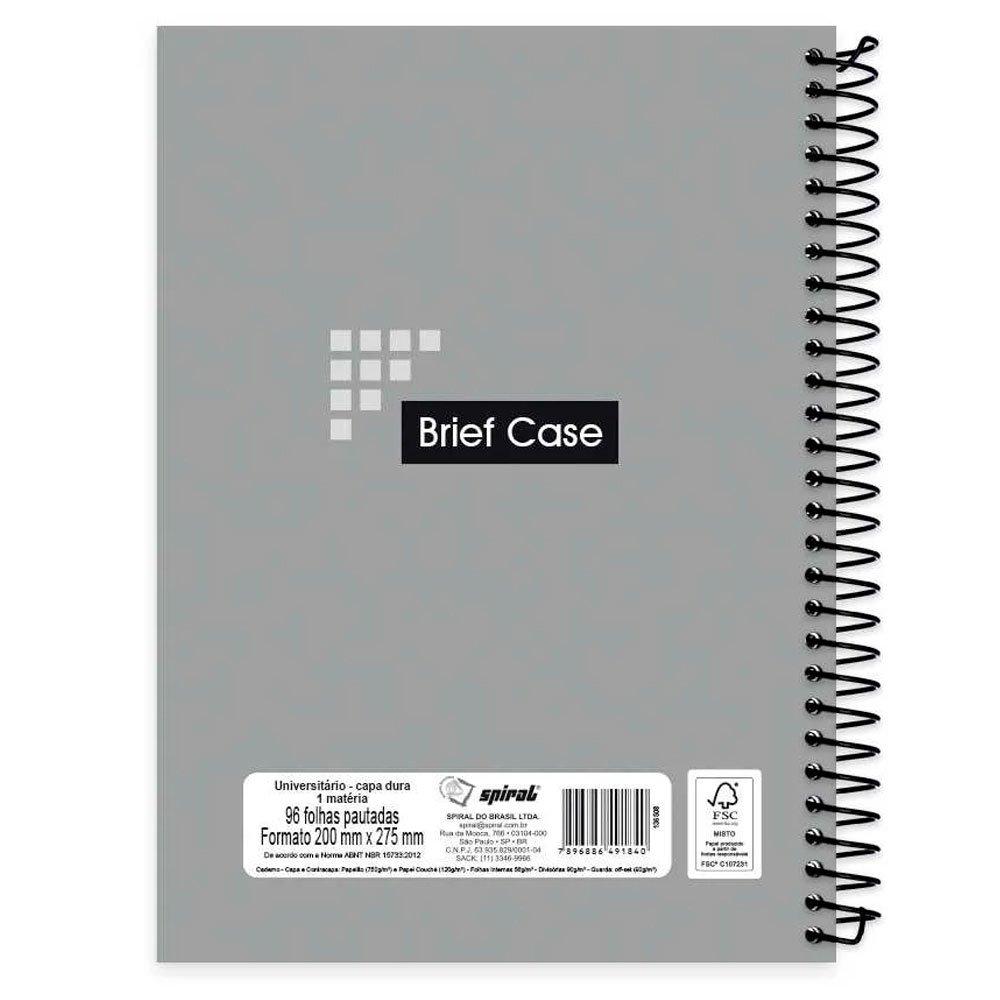 3a56bea1a3 Caderno universitário capa dura 1x1 96 fls Cinza Brief Case 91840 Spiral -  Escolar - Kalunga.com