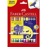Caneta hidrográfica 24 cores (12 bicolor) 150612P Faber Castell (194052)
