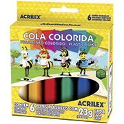 Cola colorida 23g c/06 cores acricor 02606 Acrilex CX 1 CJ