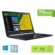 Notebook A515-51-51UX, Processador Core  i5 (7º geração) de 2.5ghz, Memória de 8gb, HD de 1tb, Tela de 15.6