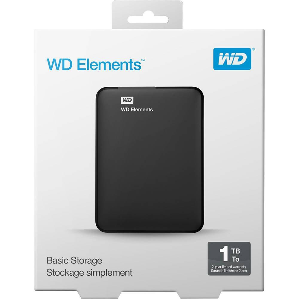 Hd Externo 1tb Usb Portatil Elements Western Digital Midias