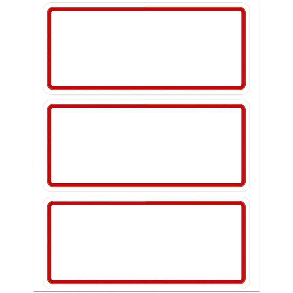Etiqueta Adesiva Escolar 35x78mm S Pauta C Tarja Vermelha Op3578