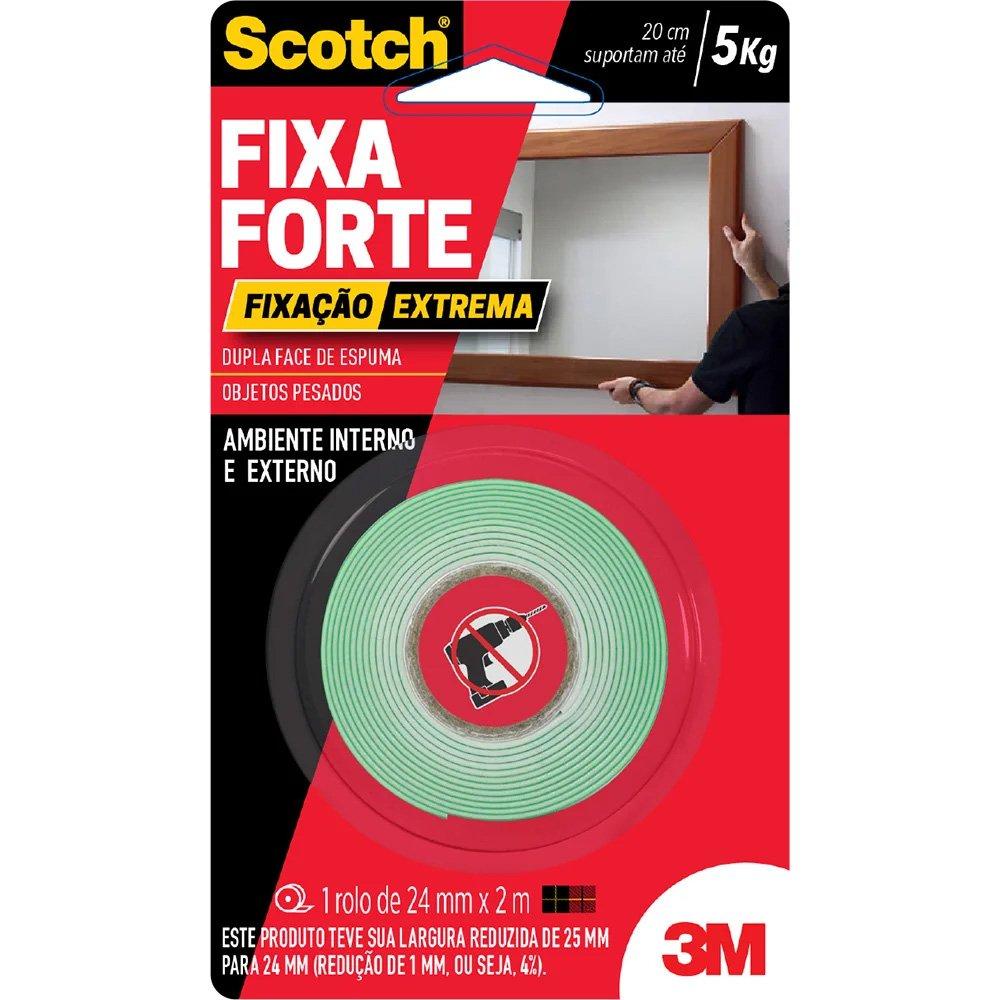 79c6bfa425a Fita adesiva dupla face Fixa Forte Extrema 24mmx2m Scotch 3M BT 1 UN