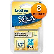 Fita p/rotulador 12mmx8mt branca m231 Brother