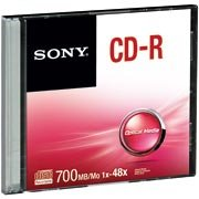 Cd-r gravável (80min/700mb)48x slim Sony PT 1 UN