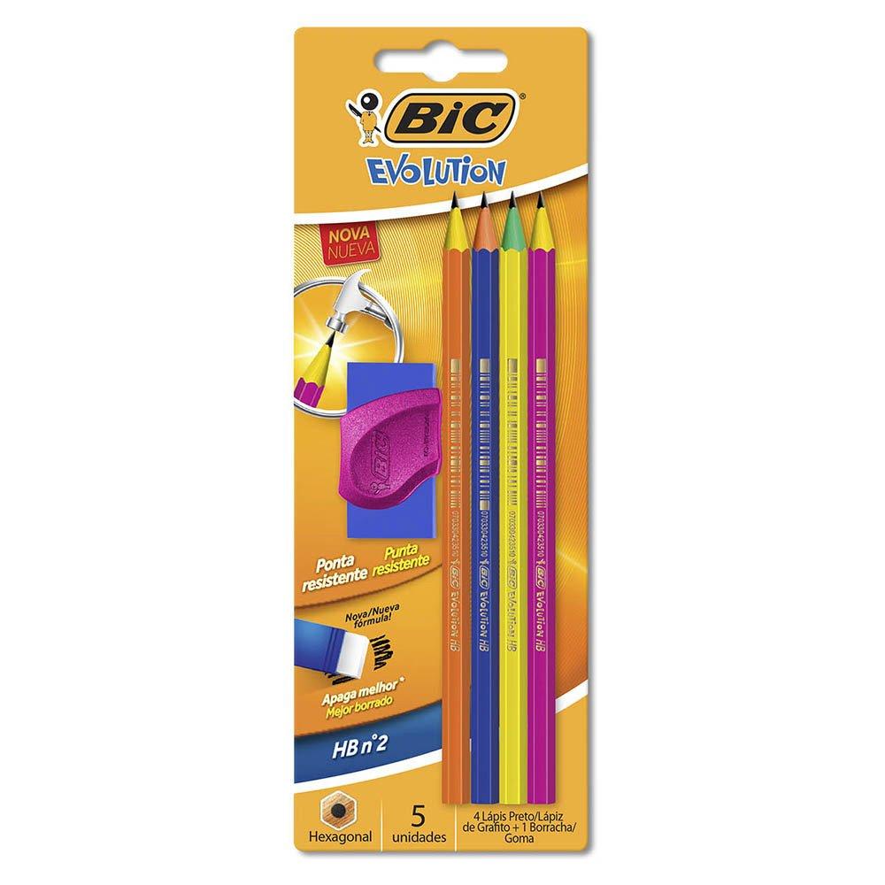 ad2ed6fd6 Lápis plástico preto Evolution Colors sextavado + 1 borracha 930026 Bic -  Escrita & Corretivos - Kalunga.com