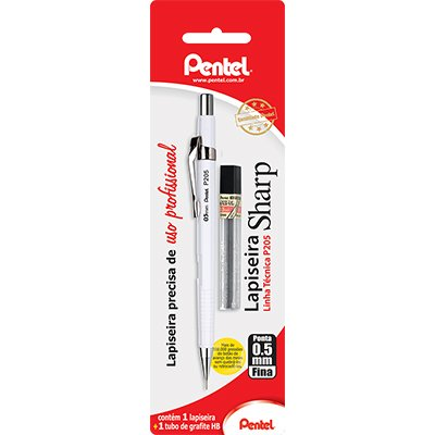 0467fe2eaa17a Lapiseira 0.5mm técnica branca +1 mina de grafite HB P200 Pentel - Escrita    Corretivos - Kalunga.com