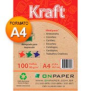 Papel Kraft A4 80g alto brilho On Paper PT 100 FL