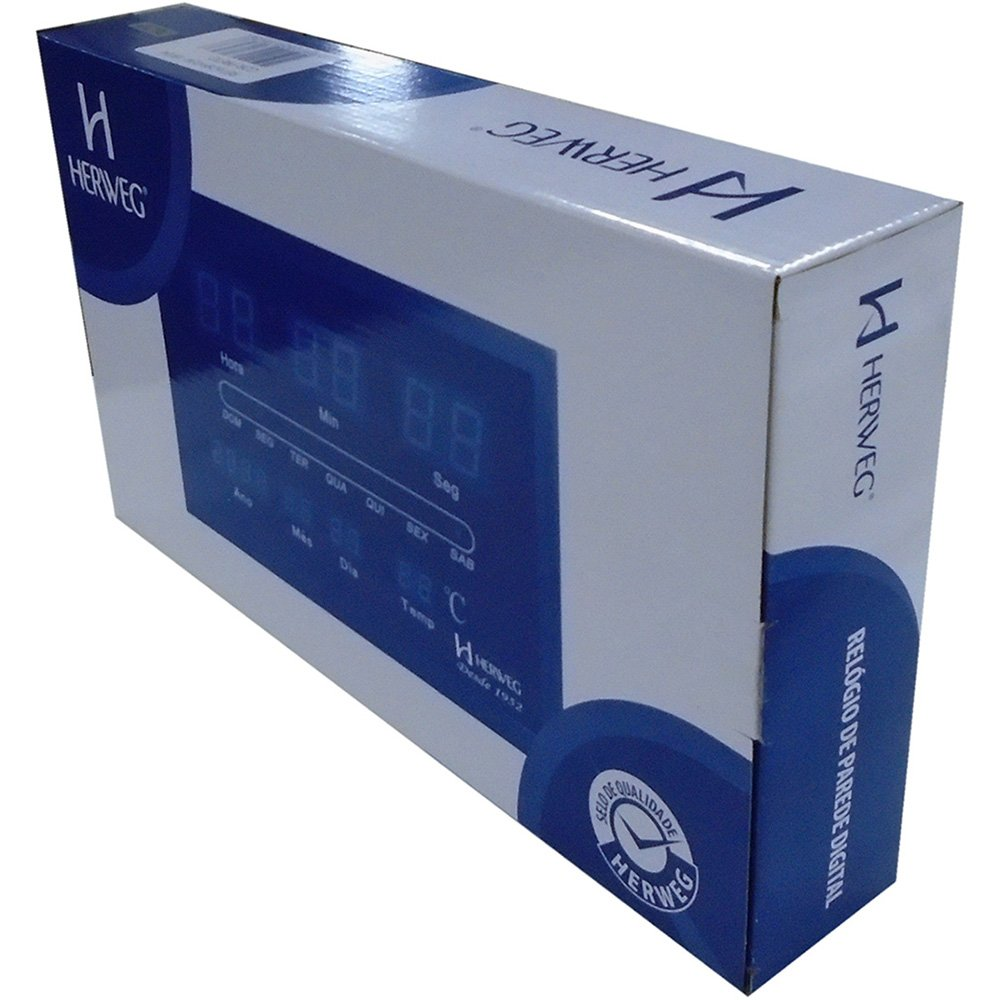 ddcef48ddc5 Relógio de Parede digital preto 6289-034 Herweg - Móveis   Equipamentos -  Kalunga.com