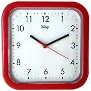 1856bb0fcbc Relógio de Parede 25cm plástico quadrado vermelho 2300-02 Sieg CX 1 UN