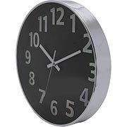 39a14612b7f Relógio de Parede 25cm prata c  fundo preto 17839 Yazi CX 1 UN