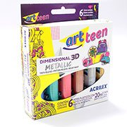 Tinta relevo dimensional c/6 cores metallic 20ml Acrilex CX 1 CJ
