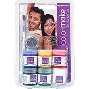 Tinta facial Color Make c/6 cores + glitter+ pincel Yur BT 1 KT