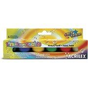 Tinta para tecido 15ml c/6 cores 04106 Acrilex (734440)