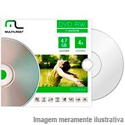 Dvd -rw regravável 4.7gb 120min 4x envelope DV064 Multilaser PT 1 UN