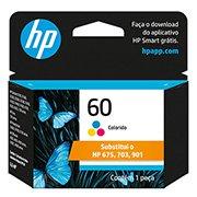 Cartucho HP 60 Colorido Original (CC643WB) Para HP Deskjet F4224, F4480, F4580, D1660, Photosmart D110a, C4780, ENVY D410a CX 1 UN