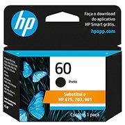 Cartucho HP 60 preto Original (CC640WB) Para HP Deskjet F4224, F4480, F4580, D1660, Photosmart D110a, C4780, ENVY D410a CX 1 UN