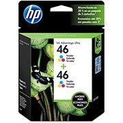 Pack de 2 cartuchos de tinta HP 46 Colorido Original (M0H59AL) Para HP DeskJet 2529, 4729, 5738 CX 1 UN