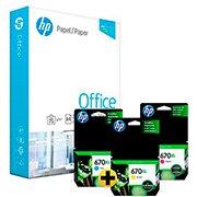 Papel sulfite HP Office A4 75g 210mmx297mm Ipaper PT 500 FL + Cartucho HP 670XL Amarelo + Cartucho HP 670XL Ciano + Cartucho HP 670XL Magenta - HP CX 1 UN