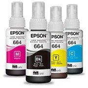 Kit refil Epson T664 para Ecotank L395, L455, L375, L1300, L475, L355, L365, L575, L110, L380, L396, L120, L495, L220, L565 CX 1 UN